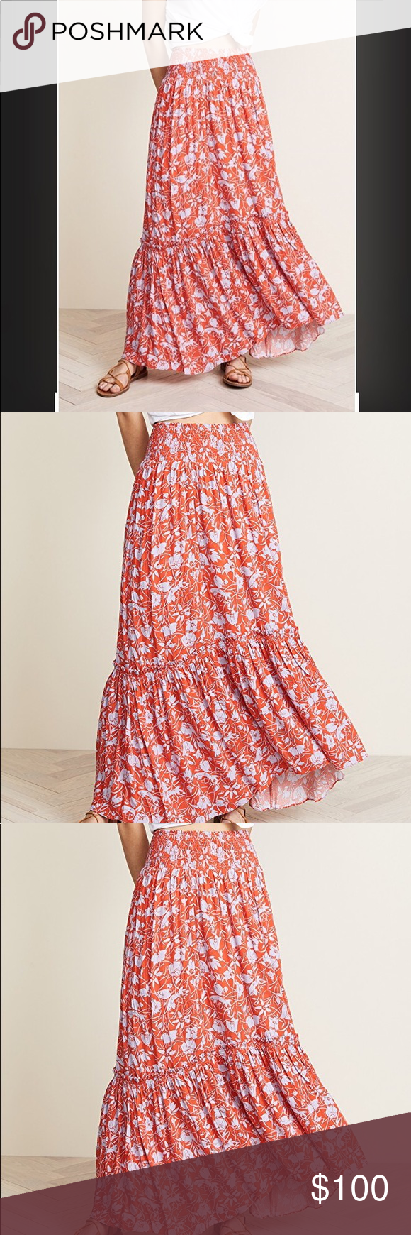 caaa20f70f Free People Way of the Wind Print Maxi Skirt Fabric: Slinky weave Wide  smocked elastic waistband Floral print Tea Length Covered elastic at waist  Lined ...