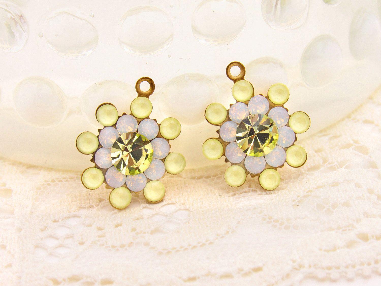 Matte Yellow, Yellow Topaz and White Opal Swarovski Rhinestone Flower Drops Dangles 17mm - 2 by alyssabethsvintage on Etsy