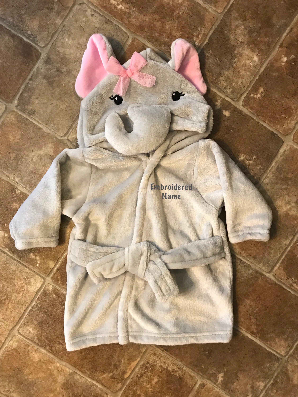 Baby Bathrobe-Plush Elephant Hooded Infant Robe-Name Embroidered ...