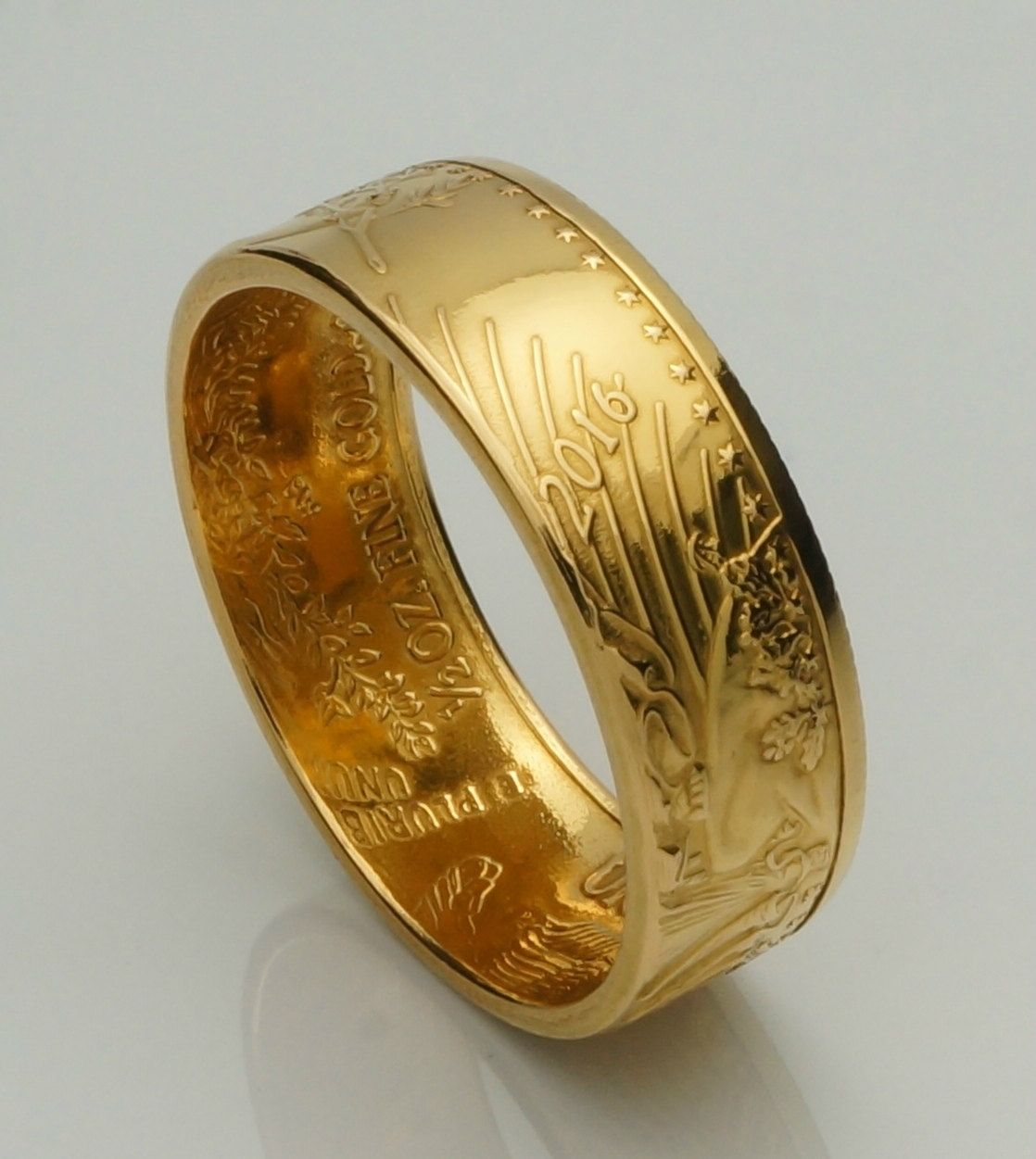 American Eagle Ring Handmade From 1 2 Oz 22k Gold Coin Ring Etsy Gold Coin Ring Coin Ring Handmade Ring