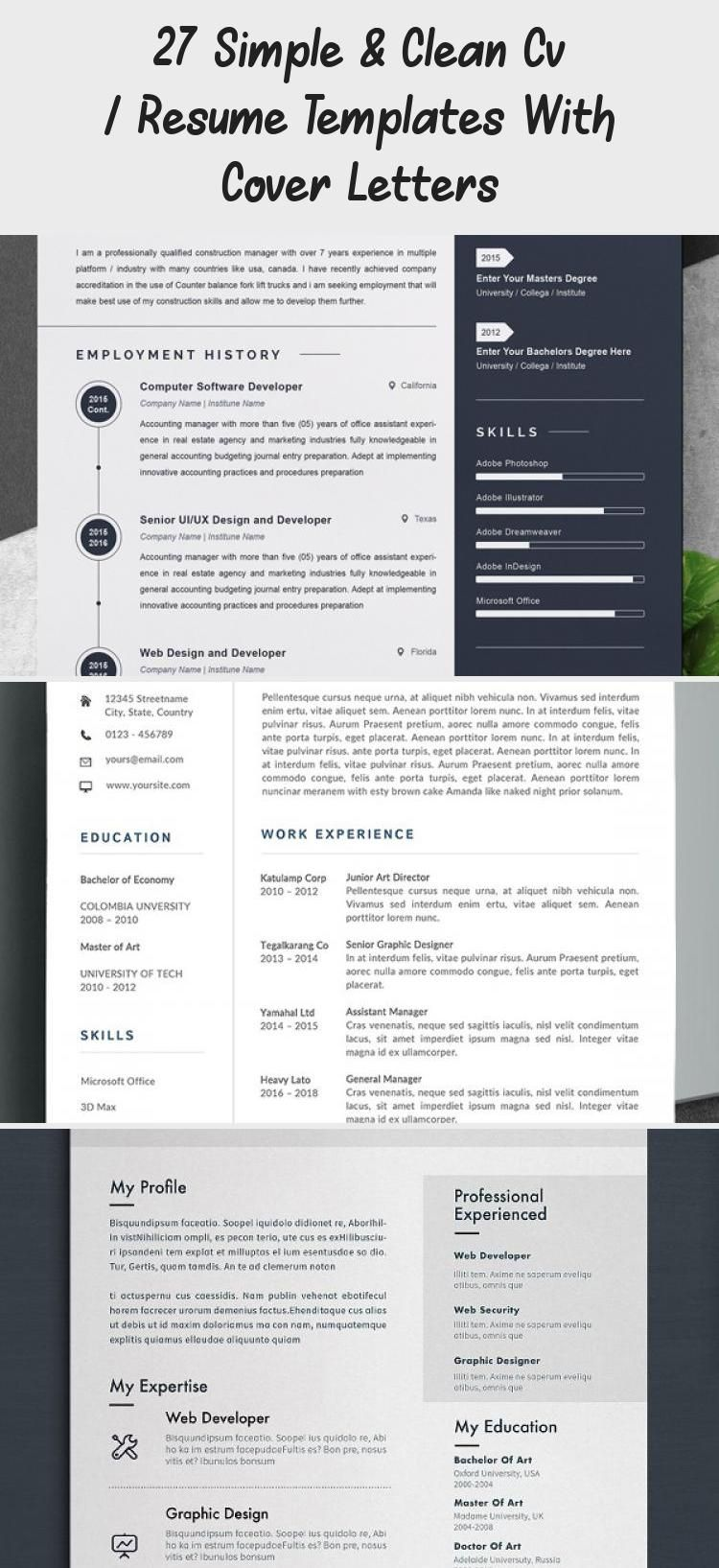 27 Simple & Clean Cv / Resume Templates With Cover Letters