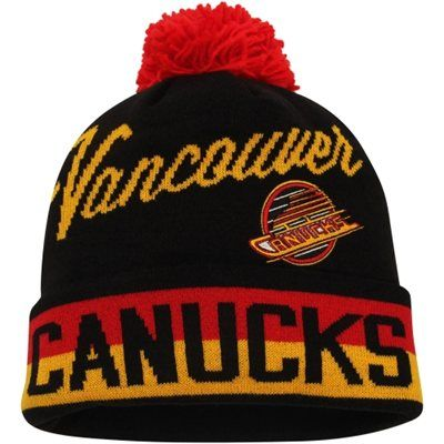 5c80c310398 Mens Vancouver Canucks Black CCM Cuffed Knit Beanie w Pom