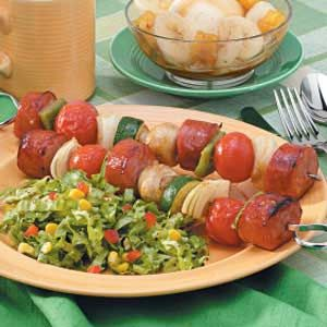 Spicy Sausage Kabobs #Grilling #Vegetables #Sausage #Simple #Summer