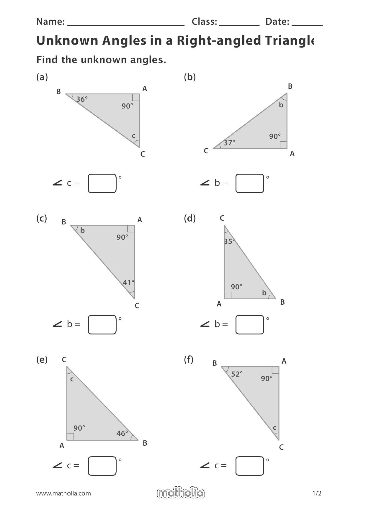 Unknown Angles In A Right Angled Triangle In 2020 Play To Learn Printable Worksheets Division Worksheets