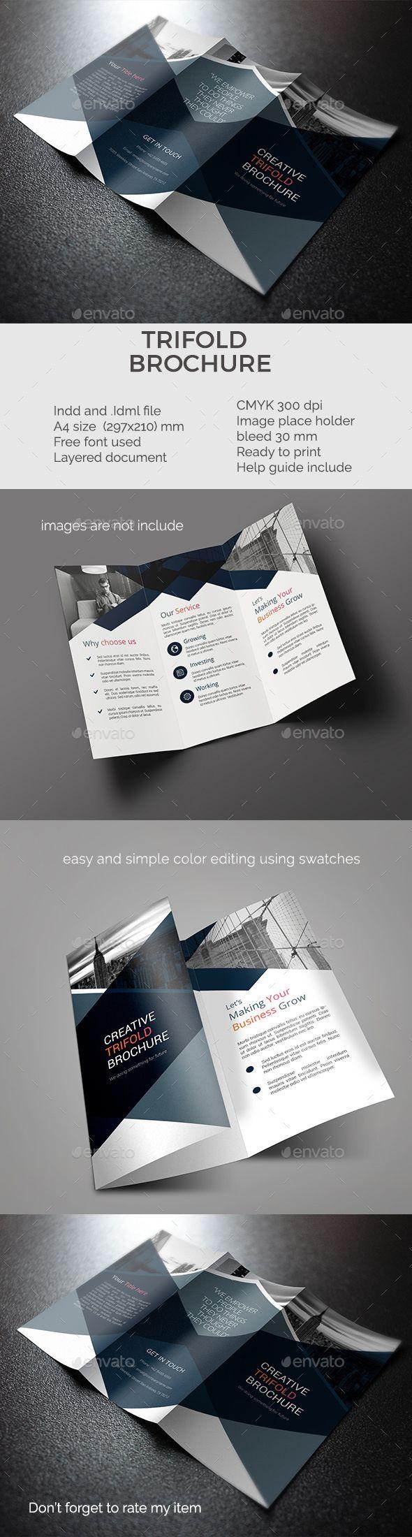 trifold brochure — InDesign INDD #3 fold #blue • Download ➝ https ...