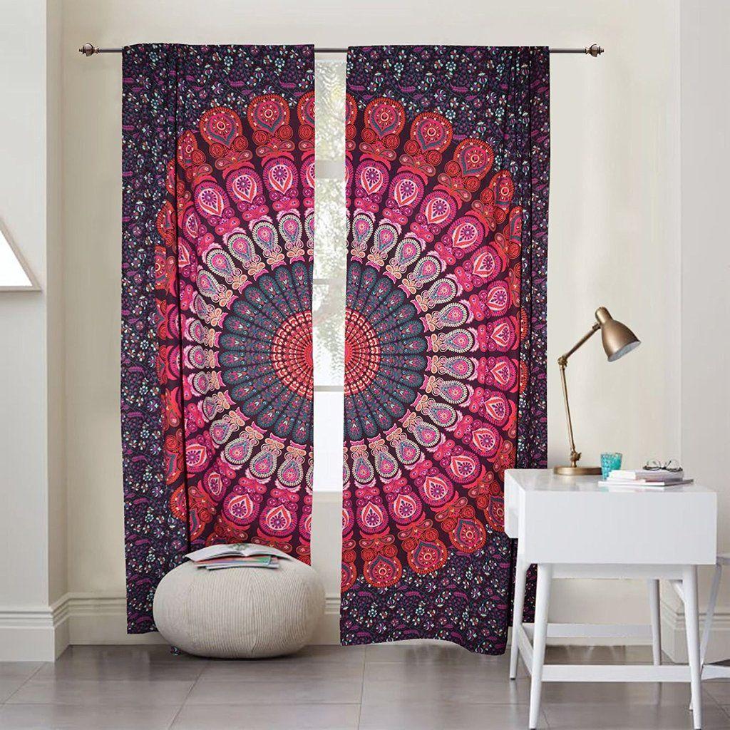 Green indian curtains - Indian Window Curtains Mandala Door Cover Curtains Bohemian Door Drapes
