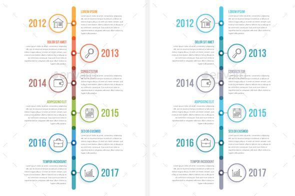 Vertical Timeline Infographics Infographic Business Card Mock Up