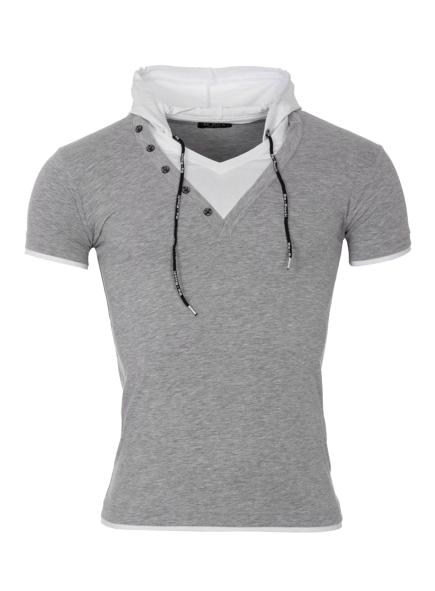 Rerock T Shirt Run Mit Kapuze Grey With Images Shirts Mens Tshirts T Shirt
