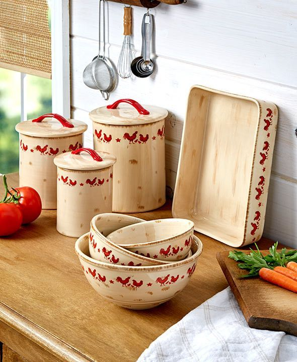 Decorating With Bowls Red Rooster Print Kitchen Collection Canisters Bowls Roasting Pan