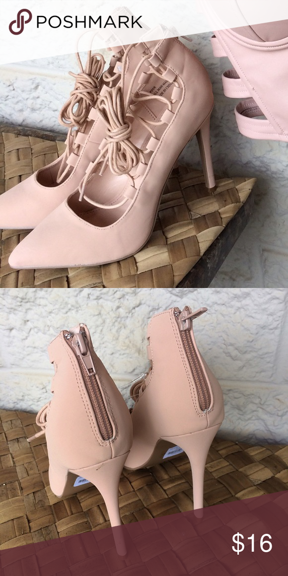 Size 8 Nude lace up heels Nude, suede, comfy lace up heels Shoes Heels