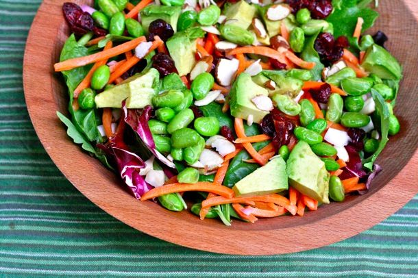 Salad-a-Day for June: mixed greens, edamame, shredded carrots, avocado, cranberries, almonds topped with olive oil + red wine vinegar!