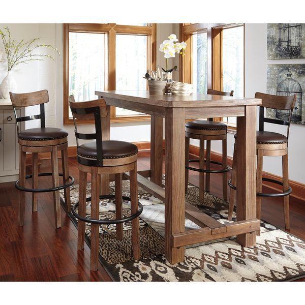 Bar Dining Room Table Signature Designashley Pinnadel 5Piece Bar Set  Table