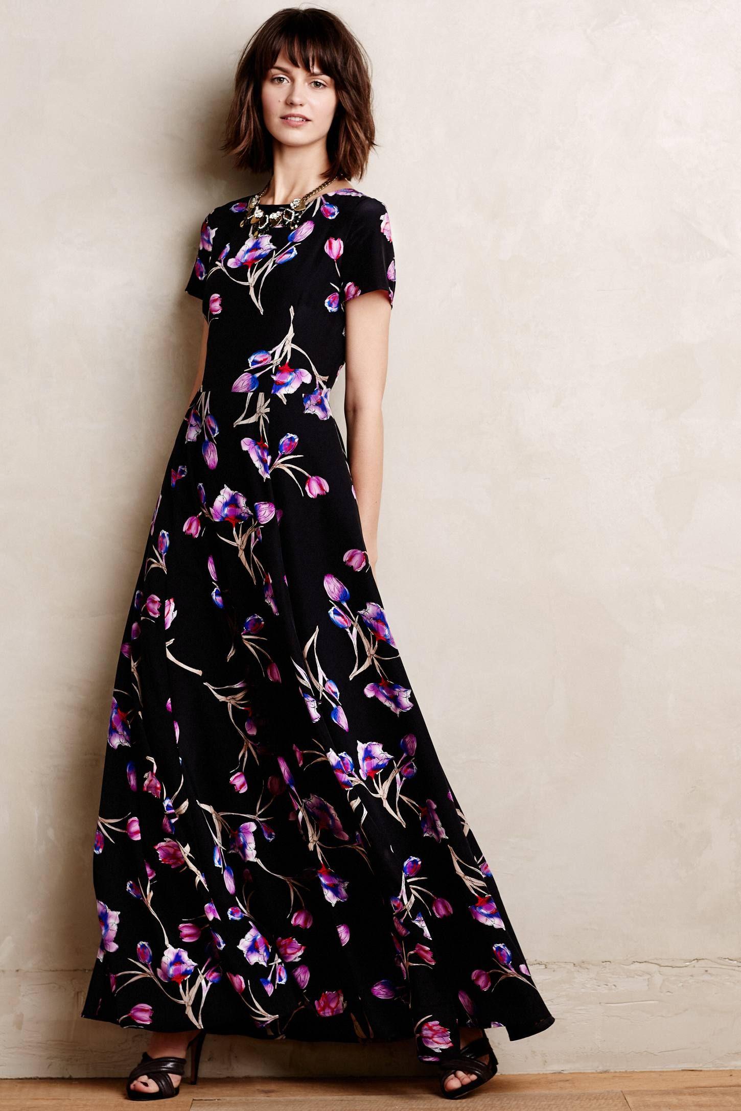 Dutch Crocus Silk Maxi Dress | Maxikleid schwarz ...