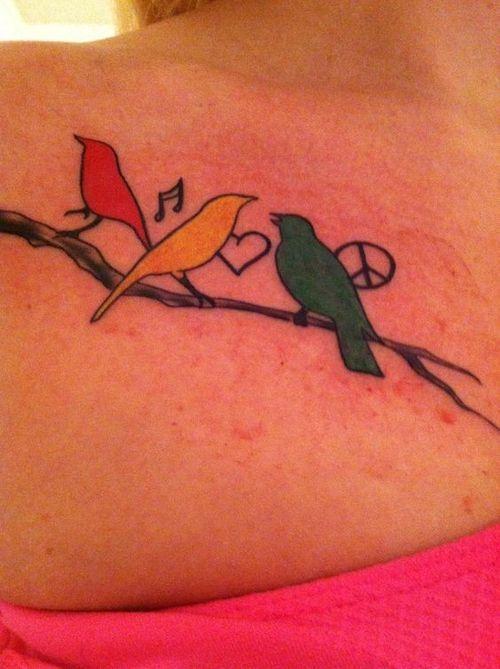 3 Birds Tattoo : birds, tattoo, Three, Little, Birds, Tattoo, Ideas, January,, Tattoos,, Tattoo,, Rasta