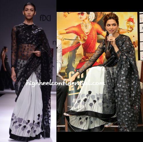 b35b18b1c53b69 For the Dubai leg of Chennai Express promotions, it was a Dev R Nil sari  for Ms. Padukone. She looked pretty. Left: Dev R Nil Right: Deepika Padukone  at ...