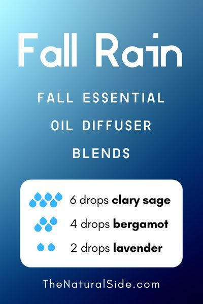 11 Fall Essential Oil Diffuser Blends to Warm Your Home Up Fall Rain  6 drops Clary Sage  4 drops Bergamot  2 drop Lavender  Essential Oils Recipes via