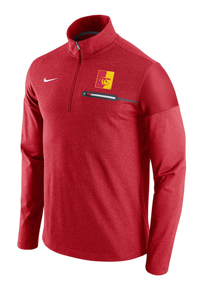 57013475f Nike Pitt State Gorillas Mens Red Elite Coaches Long Sleeve 1/4 Zip Pullover,  Red, 97% POLYESTER/3% SPANDEX, Size XL