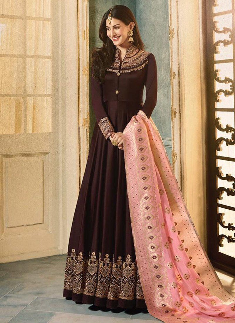 6a164d0aa3 Buy Amyra Dastur Dark Brown Abaya Style Anarkali Suit online, SKU Code:  SLSCCH899337. This Brown color Party anarkali suit for Women comes with  Benarasi ...