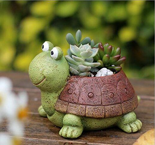 Coolbila Cute Animal Shaped Cartoon Home Decoration Succulent Planter  Flower Pots Turtle It s great for radiation protection save space at office 12 50 Small pot