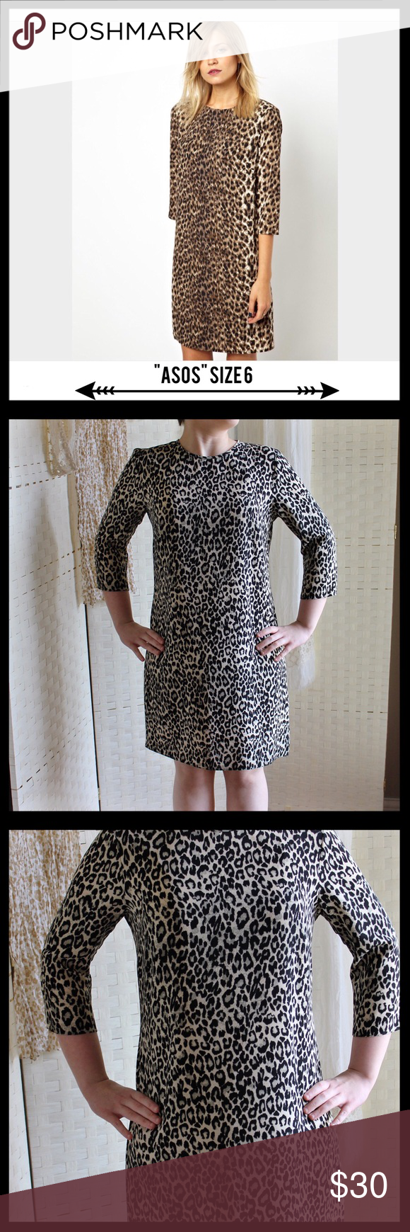 """ASOS Leopard Print Shift Dress ASOS leopard print shift dress in a size 6.  In like new condition. Has back zipper closure and eye and hook.  Has 3/4th sleeves.  Measures 20"""" from armpit to armpit and 34"""" in length.  Model is a size small and 5'3"""" for reference.  100% polyester. Comes from a smoke free home. ASOS Dresses"""