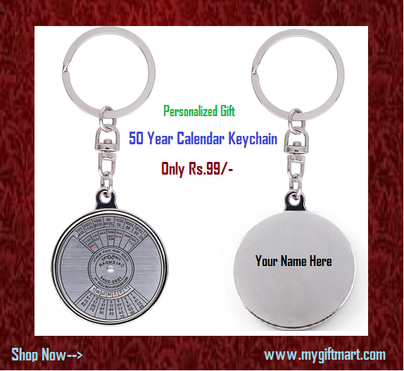 buy Personalized 50 Year Calendar Keychain Online in India