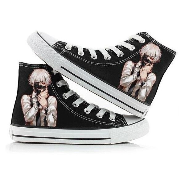Ken Kaneki and other characters canvas sneakers. Tokyo Ghoul anime  merchandise from cosplay shop.