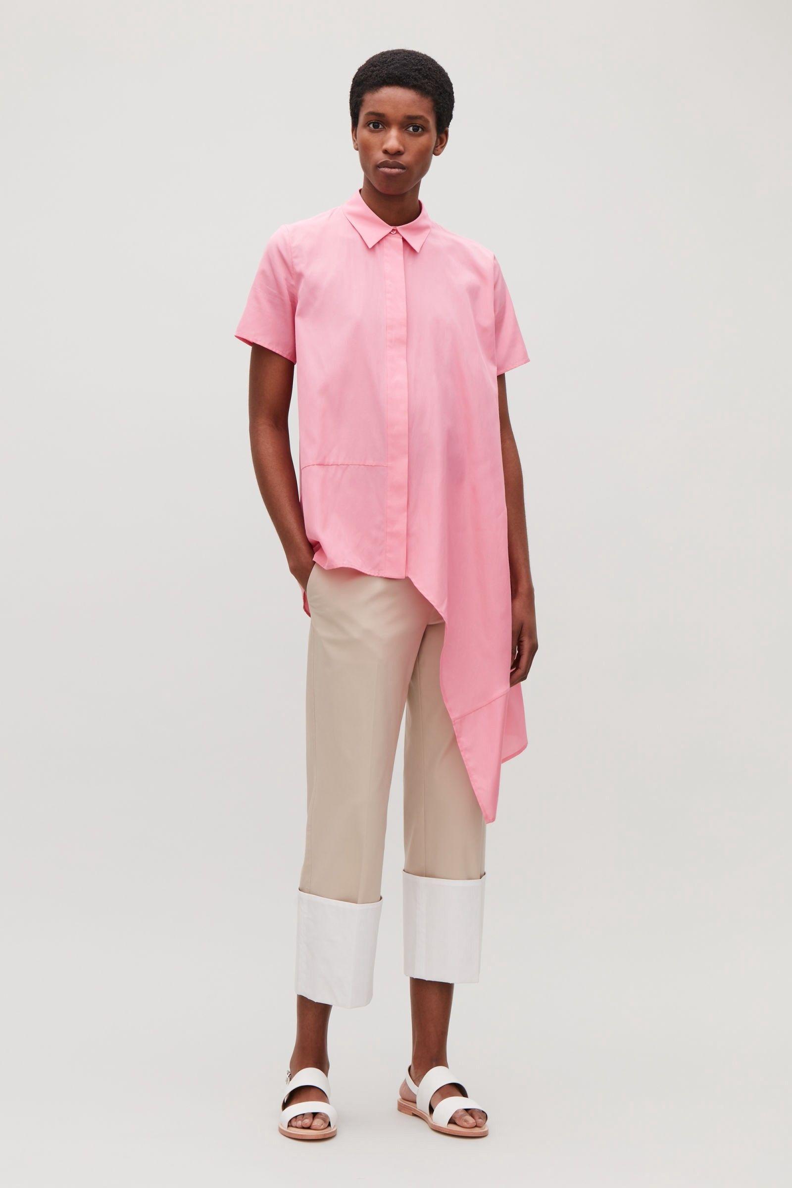 f077585a7f0 Cos Silk Shirt With Asymmetric Hem - Pink 10 | Products | Shirts ...