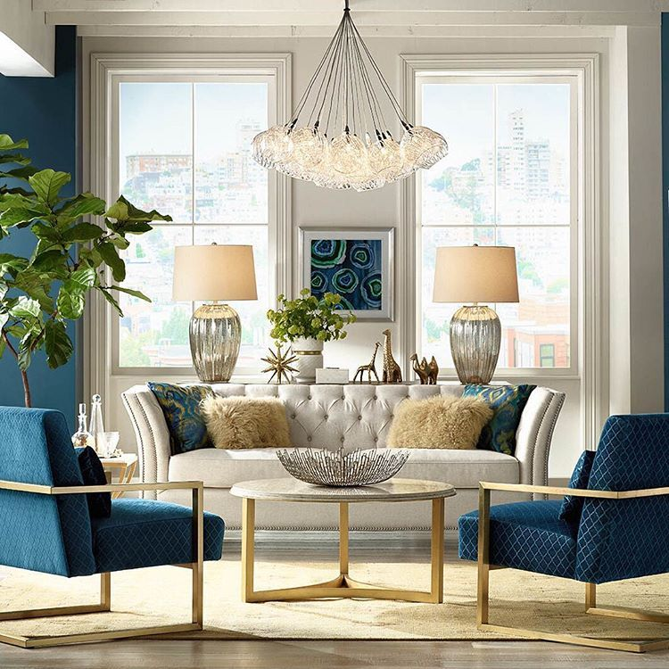 Lamps Plus On Instagram In Perfect Balance From Paired Oversized Lamps To Matching Chairs Stunning S Gold Living Room Blue Living Room Living Room Designs