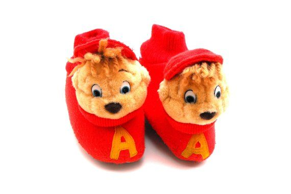 18f52d5f5eb Vintage Alvin and the Chipmunks Slippers Retro 1990 Bagdasarian Boy s House  Shoes Red Knit Stuffed A