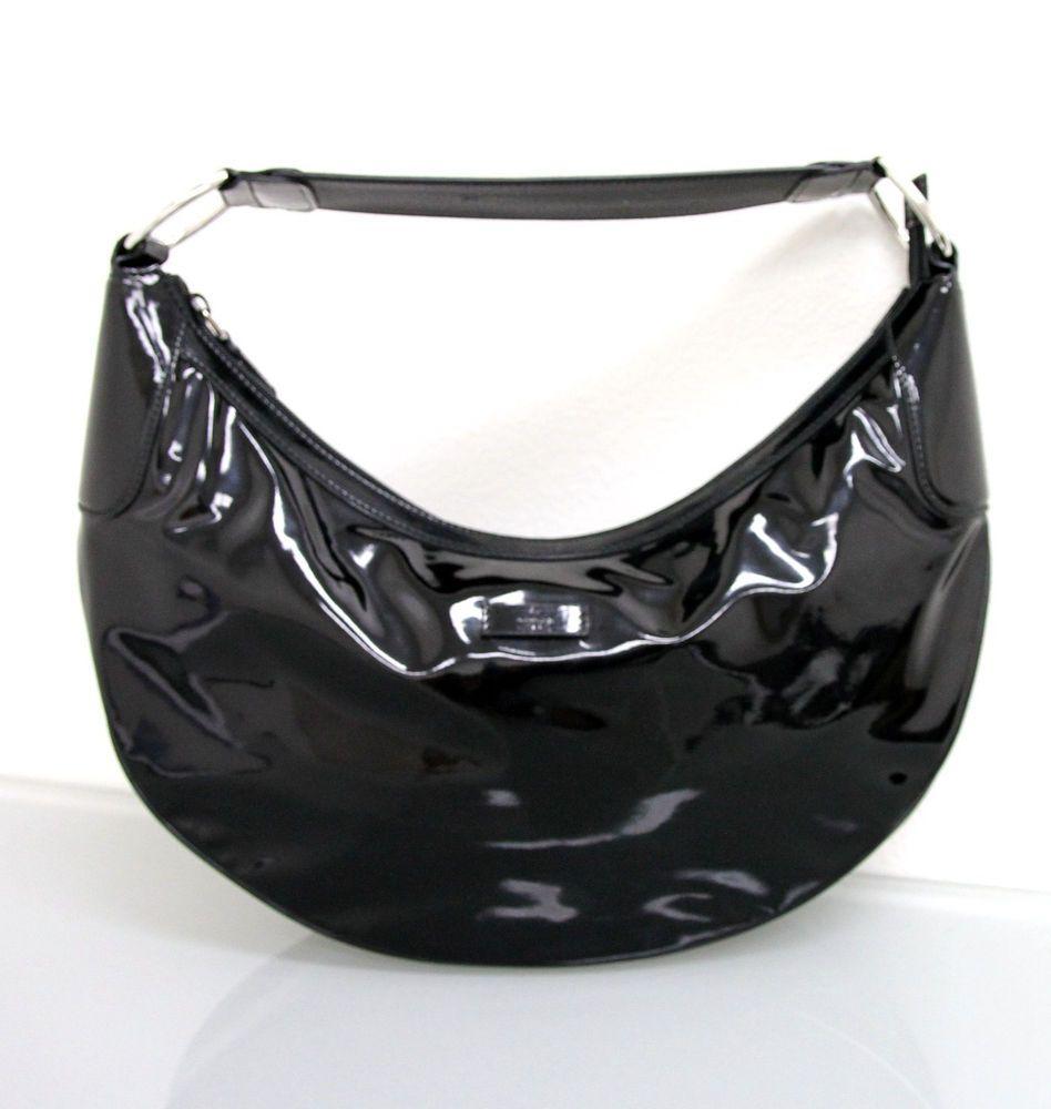 83cab31018a3 NEW Authentic GUCCI Patent Leather Half Moon Hobo BAG Handbag 257297 #Gucci  #Hobo
