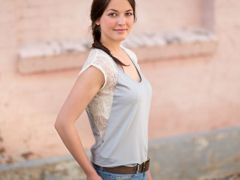 "Spitzen Shirt / Top ""Floral Lace"" / Hellgrau Creme von NADESHDA auf DaWanda.com"