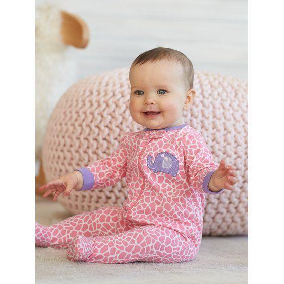 bc5aba13fab2 Newborn Baby Girl Zip Front Sleep N Play Footed Sleepers