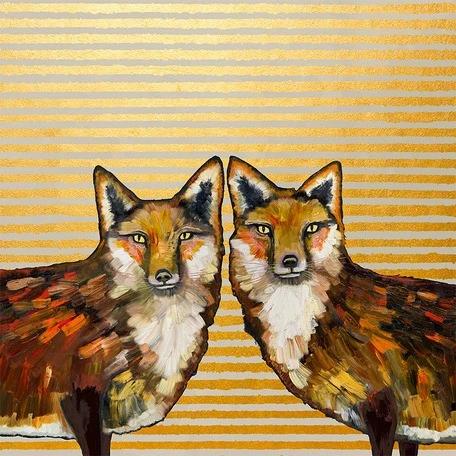 Fox Duo Metallic Embellished Eli Halpin Giclée Print