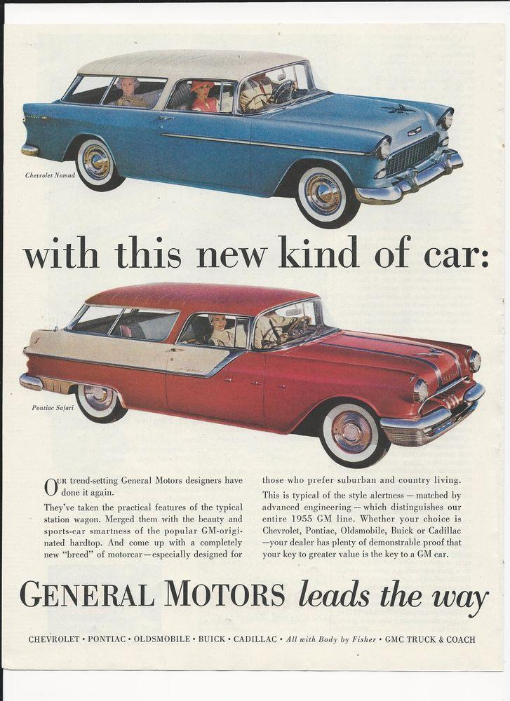 Original 1955 Color Ad For General Motors Chevrolet Nomad Pontiac Safari Pontiac General Motors Car Ads