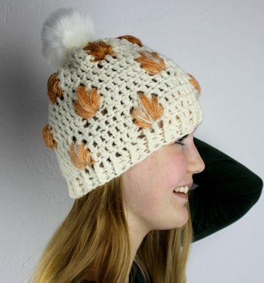 Crochet autumn beanie hat with leaves - free crochet pattern ...