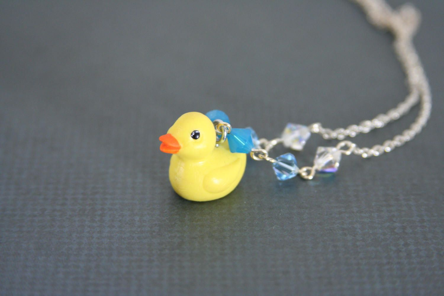 Rubber Ducky Necklace Swarovski Crystal Yellow Duck - made from a ...