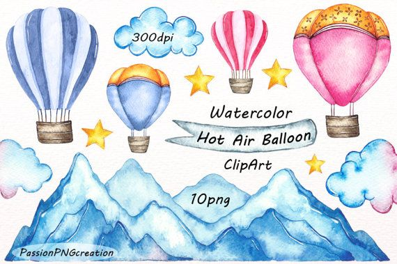 Watercolor Hot Air Balloon Clipart Png Card Making Digital