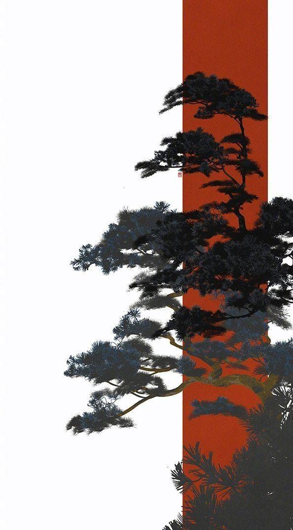 tree/wtite/orange/digital art/illustration/digital art/abstract