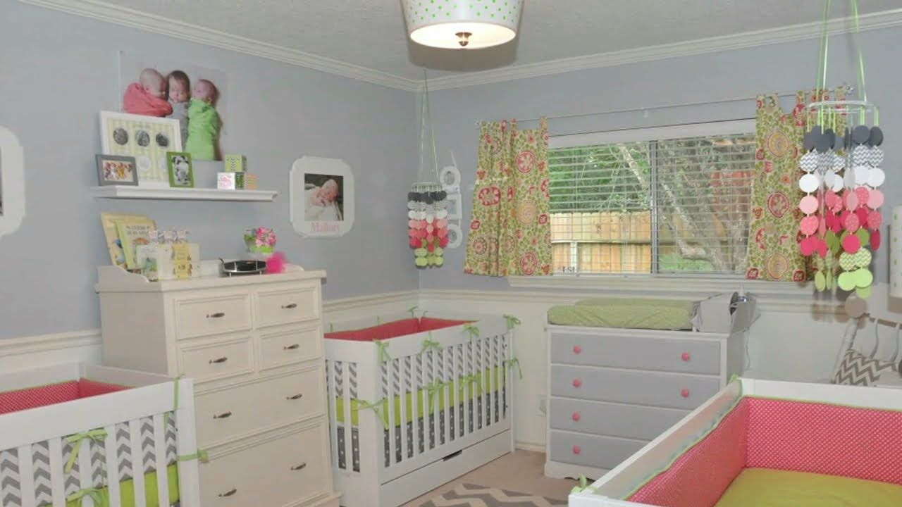 Crib for triplet babies - Gray Coral And Lime Nursery For One Baby Only Though No Thanks On The Triplet Nursery Part