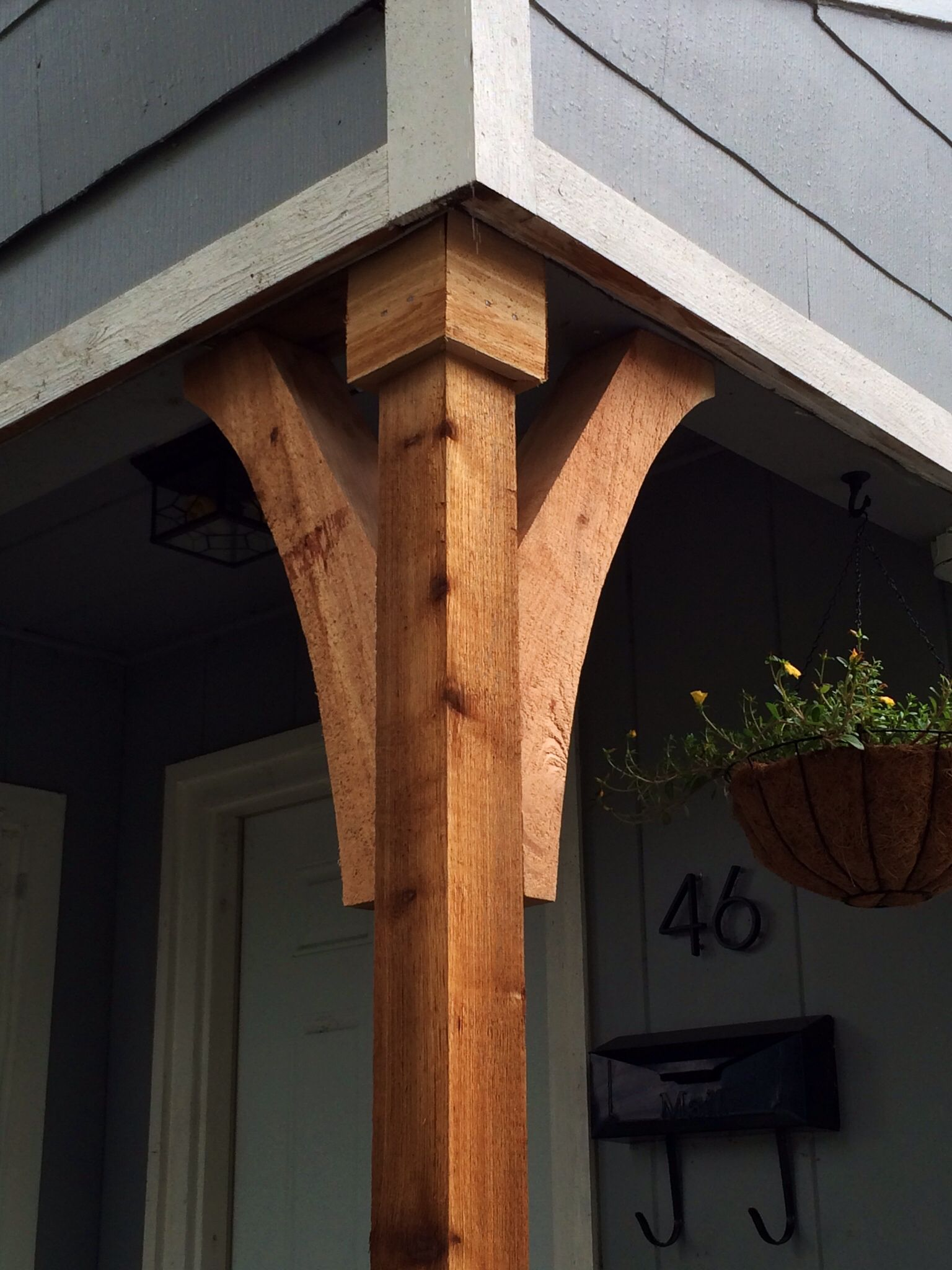 Front porch cedar column exterior redo pinterest for Front entry decks