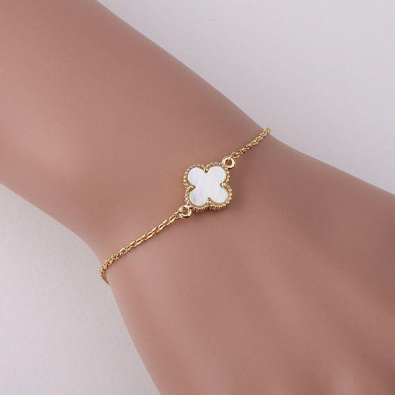 Excellent Lovely 12mm White mother of pearl four leaf clover bracelet, gold  DM65