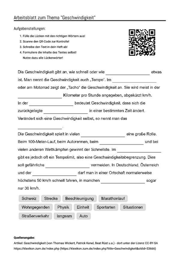 Nice Berechnen Geschwindigkeit Arbeitsblatt Motif - Kindergarten ...