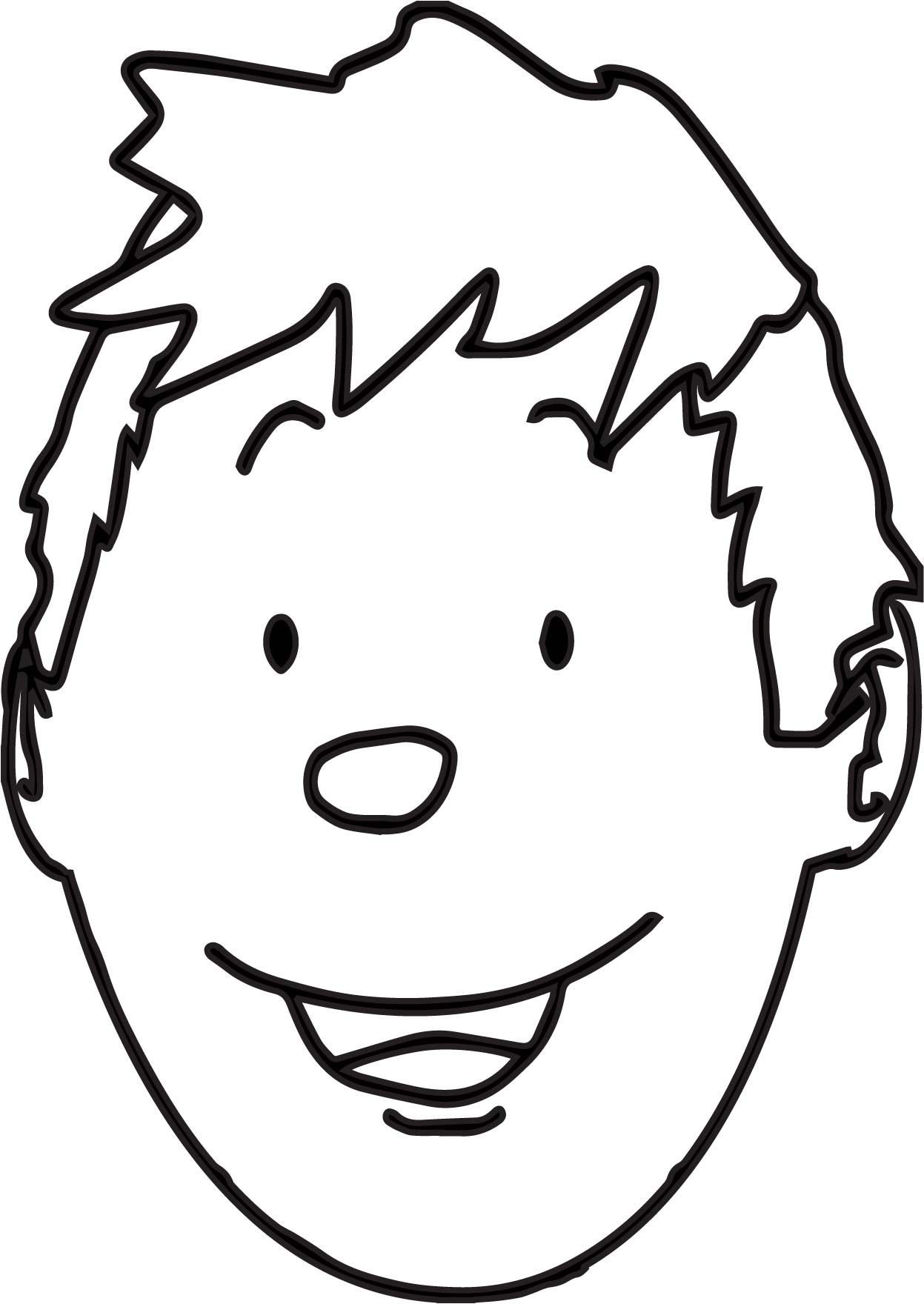 Nice Boy Face Outline Coloring Page Yuzler Cizim