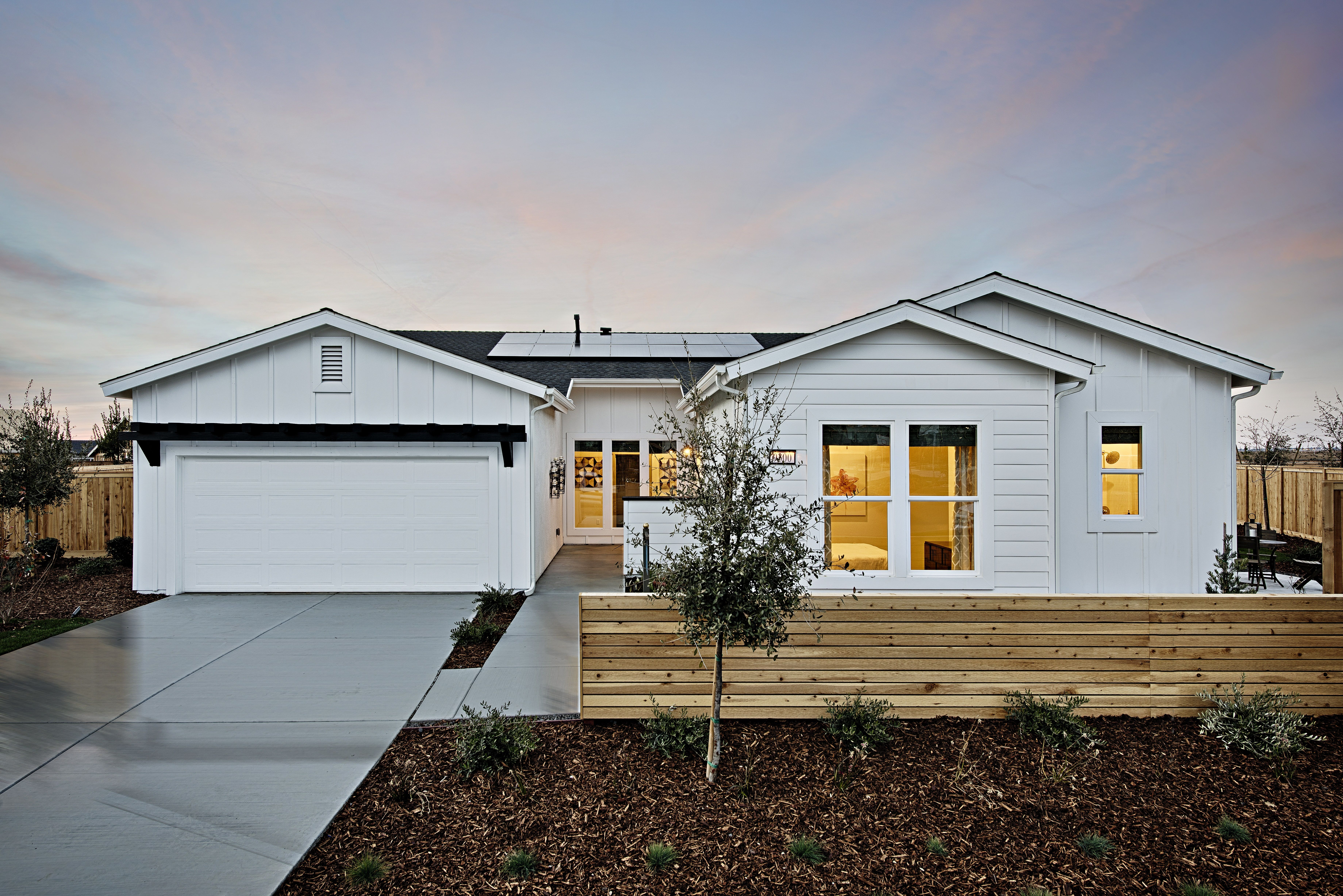 All White Siding Single Story Exterior With Black Accents New House Plans House Plans House Design