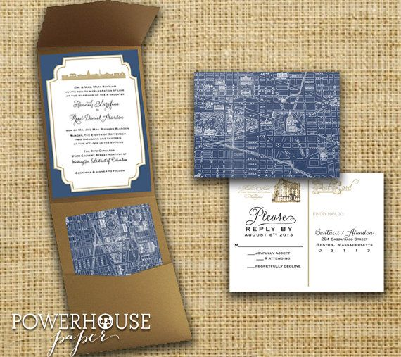 Washington Dc Map Wedding Invitation Pocketfold By Housepaper 5 50