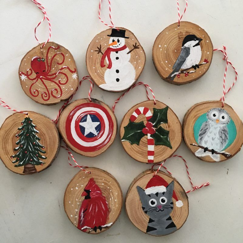 Christmas Ornaments And Art On Etsy Wood Christmas Ornaments Painted Christmas Ornaments Wooden Christmas Ornaments