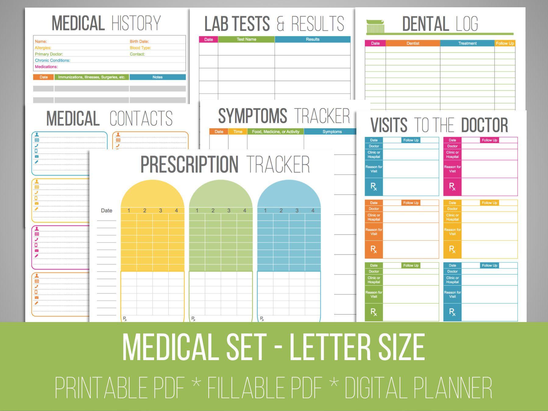 Medical Printables Set Organizing Printables Fillable