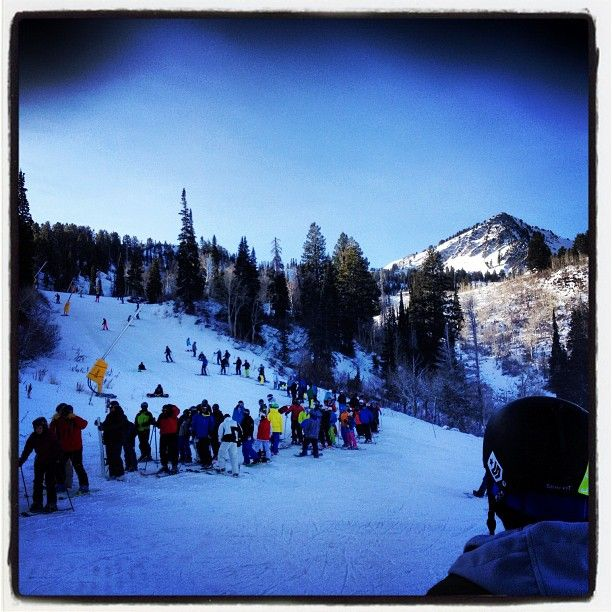 Damn #lines. Go home and eat turkey people! #snowbasin #openingday