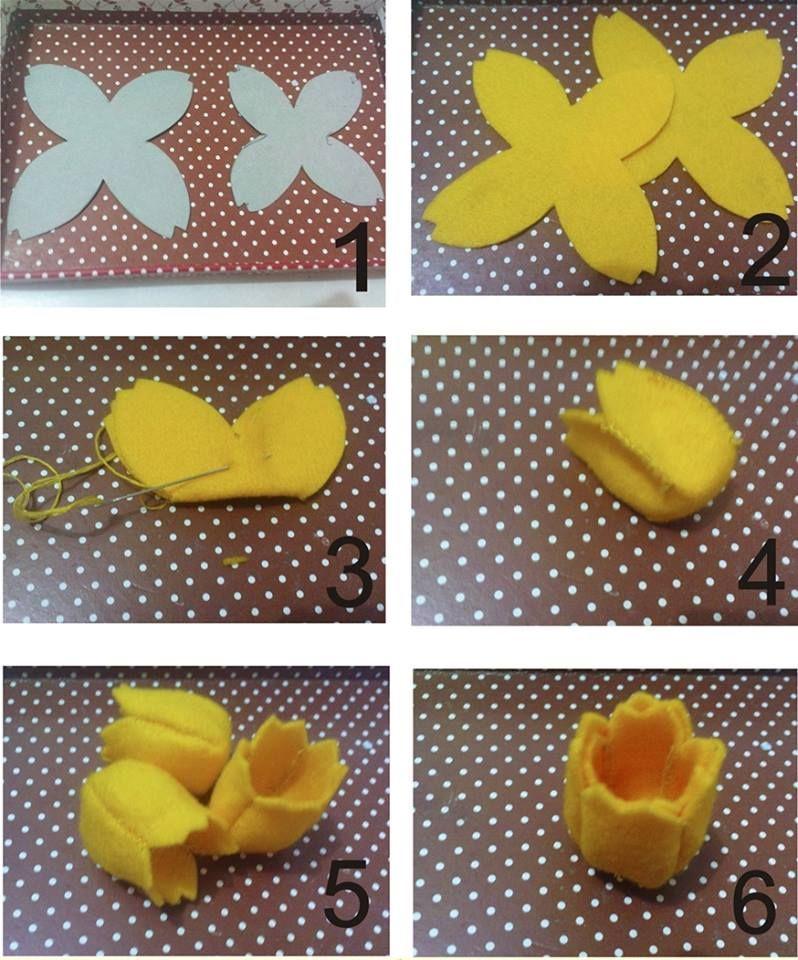 Tulipa de feltro bricolages tissu pinterest feutrine feutres et fleur - Enlever feutre sur tissu ...