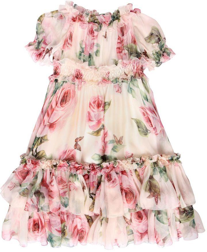Kinderkleding Jurkjes.Dolce Gabbana Roses Print Silk Chiffon Party Dress Childrenwear